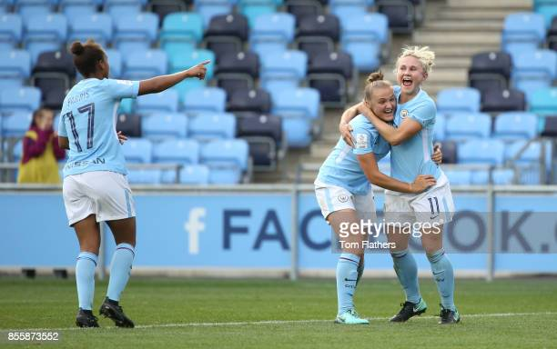 Manchester City's Georgia Stanway celebrates scoring with Izzy Christiansen during the WSL 1 match between Manchester City Women and Arsenal Ladies...