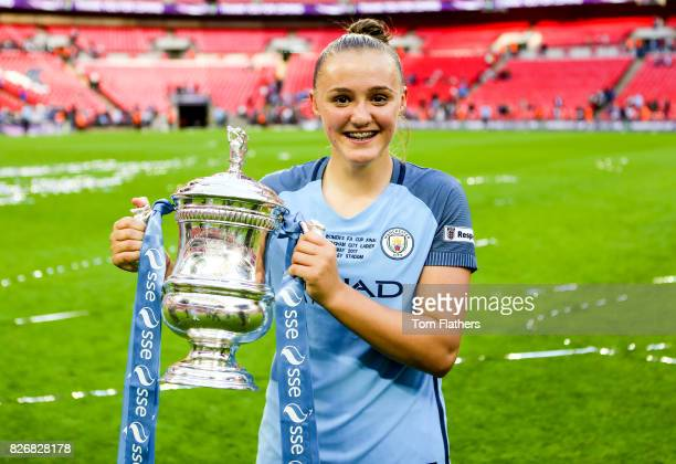 Manchester City's Georgia Stanway celebrates winning the FA Cup