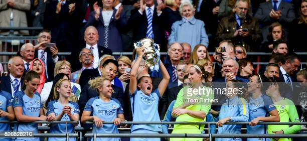 Manchester City's Georgia Stanway celebrates winning the FA Cup with her teammates