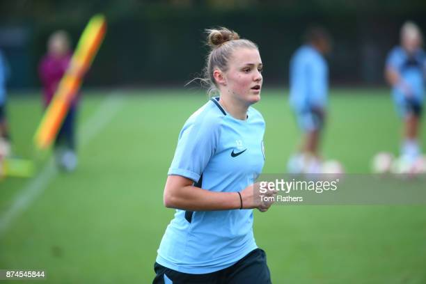 Manchester City's Georgia Stanway during training at Manchester City Football Academy on November 15 2017 in Manchester England