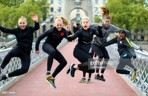 Manchester City's Georgia Stanway Ellie Roebuck Steph Houghton Jill Scott and Demi Stokes in Lyon