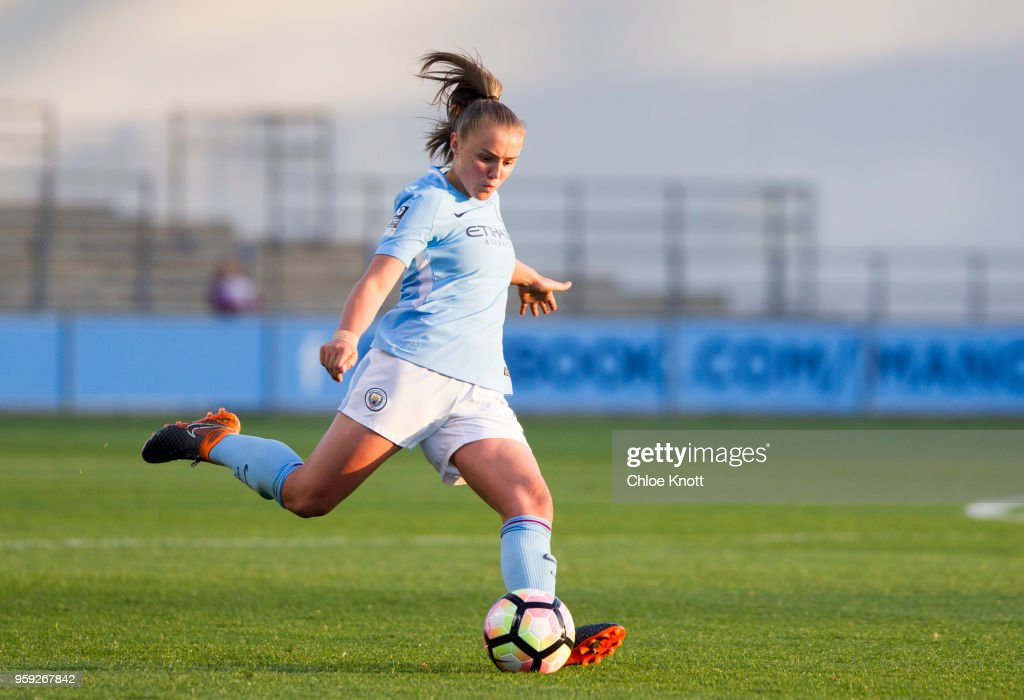 Manchester City's Georgia Stanway in action during the FA WSL match between Manchester City Women and Yeovil Town Ladies at The Academy Stadium on May 16, 2018 in Manchester, England.