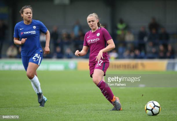 Manchester City's Georgia Stanway in action during the Women's FA Cup Semi Final between Chelsea Ladies and Manchester City Women at The Cherry Red...