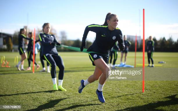 Manchester City's Georgia Stanway in action during training at Manchester City Football Academy on October 31 2018 in Manchester England