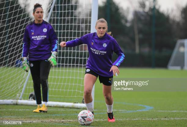 Manchester City's Georgia Stanway in action during training at Manchester City Football Academy on February 05 2020 in Manchester England