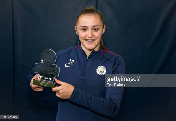 Manchester City's Georgia Stanway is awarded the FA Women's Super League 1 Player of the Month award for February 2018 at Manchester City Football...