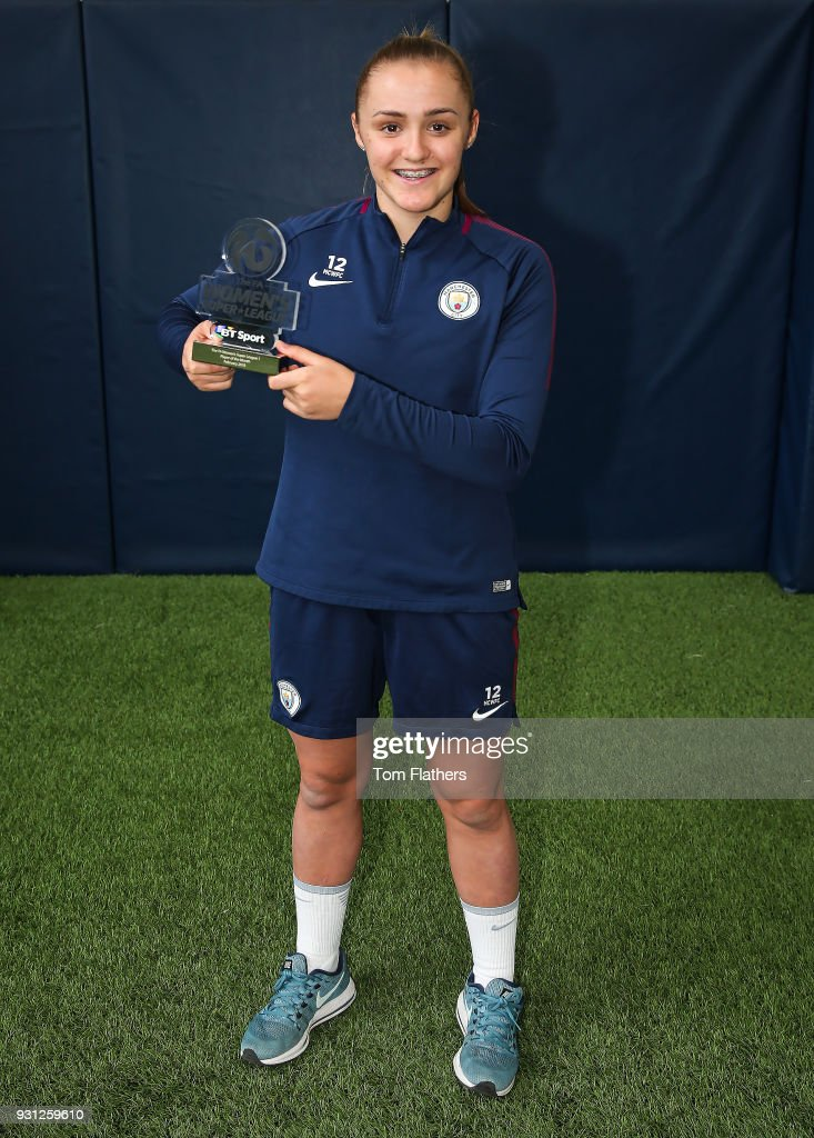 Manchester City's Georgia Stanway is awarded the FA Women's Super League 1 Player of the Month award for February 2018 at Manchester City Football Academy on March 12, 2018 in Manchester, England.