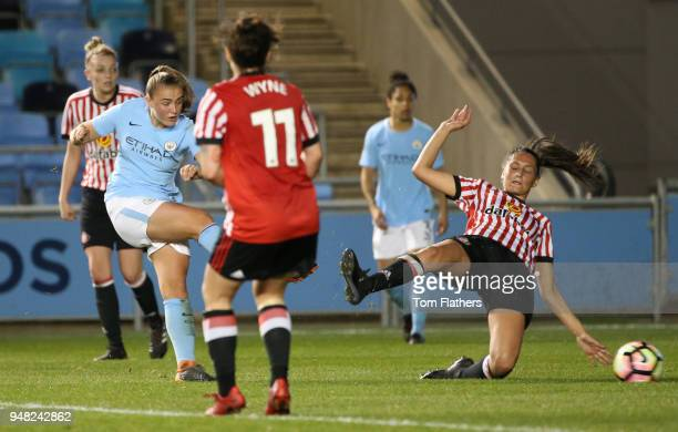 Manchester City's Georgia Stanway scores to make it 20 during the WSL fixture between Manchester City Women and Sunderland Ladies at The Academy...