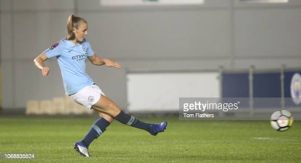 Manchester City's Georgia Stanway scores to make it 50 during the Continental Cup match between Manchester City Women v Sheffield United at...