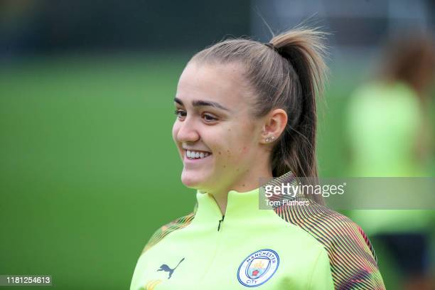 Manchester City's Georgia Stanway smiles during training at Manchester City Football Academy on October 15 2019 in Manchester England