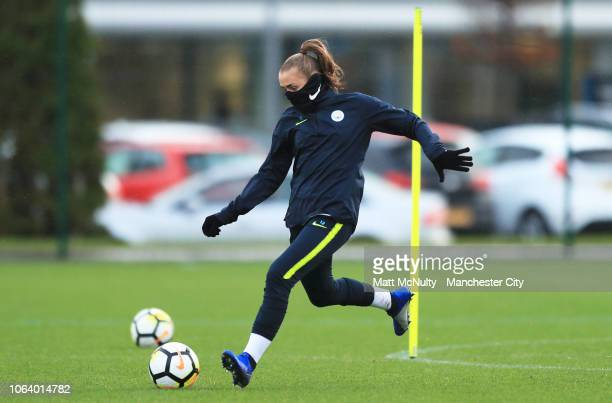 Manchester City's Georgia Stanway takes part in a passing drill during the training session at Manchester City Football Academy on November 20 2018...