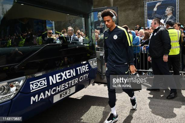Manchester City's German midfielder Leroy Sane arrives for the English Premier League football match between Brighton and Hove Albion and Manchester...