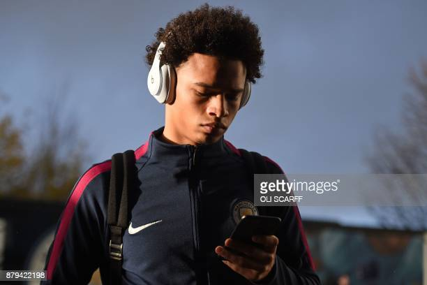Manchester City's German midfielder Leroy Sane arrives for the English Premier League football match between Huddersfield Town and Manchester City at...