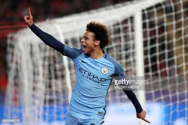 Manchester City's German midfielder Leroy Sane celebrates after scoring a goal during the UEFA Champions League round of 16 football match between...