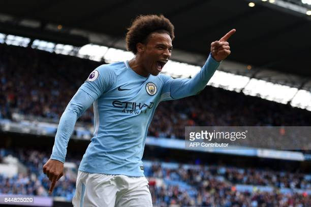 Manchester City's German midfielder Leroy Sane celebrates after scoring their fourth goal during the English Premier League football match between...