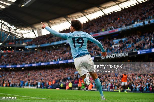 Manchester City's German midfielder Leroy Sane celebrates scoring their sixth goal during the English Premier League football match between...