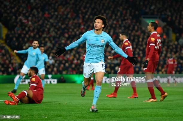Manchester City's German midfielder Leroy Sane celebrates scoring their first goal to equalise 11 during the English Premier League football match...