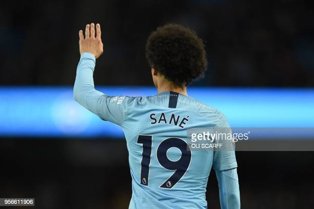 Manchester City's German midfielder Leroy Sane gestures during the English Premier League football match between Manchester City and Brighton and...