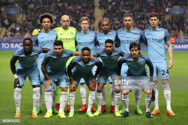 Manchester City's German midfielder Leroy Sane Manchester City's Argentinian goalkeeper Willy Caballero Manchester City's Belgian midfielder Kevin De...