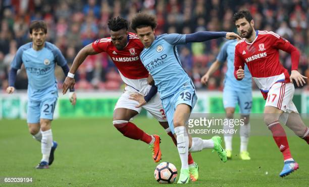 Manchester City's German midfielder Leroy Sane vies with Middlesbrough's Spanish midfielder Adama Traoré during the English FA cup quarter final...