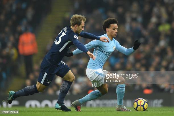 Manchester City's German midfielder Leroy Sane vies with Tottenham Hotspur's Danish midfielder Christian Eriksen during the English Premier League...