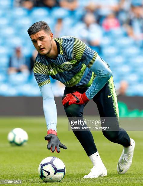 Manchester City's goalkeeper Arijanet Muric during warmup during the Premier League match at the Etihad Stadium Manchester