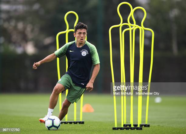 Manchester City's Ian Carlo Poveda during training at Manchester City Football Academy on July 12 2018 in Manchester England