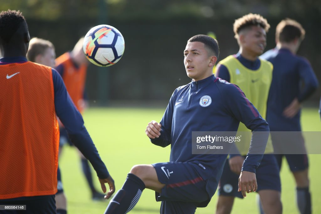 Manchester City's Iancarlo Poveda during training at Manchester City Football Academy on October 12, 2017 in Manchester, England.