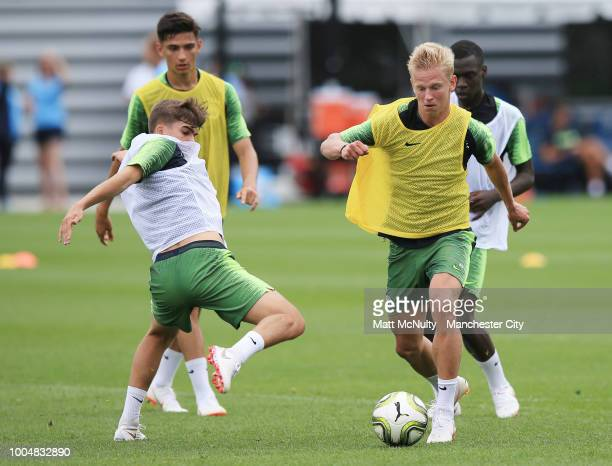 Manchester City's Iker Pozo and Oleksandr Zinchenko in action during training at New York City FC's training facility on July 23 2018 in New York City