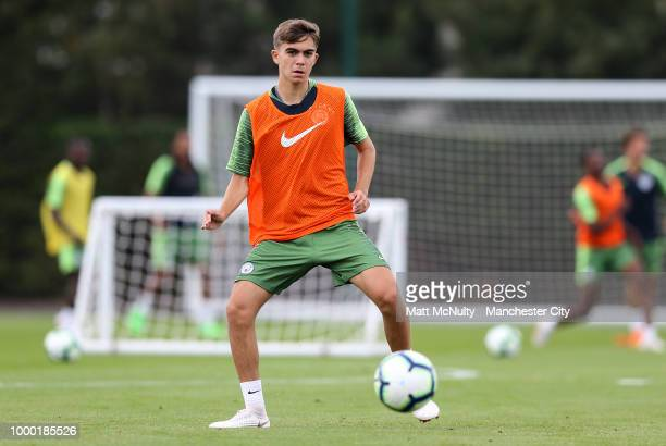 Manchester City's Iker Pozo during training at Manchester City Football Academy on July 16 2018 in Manchester England