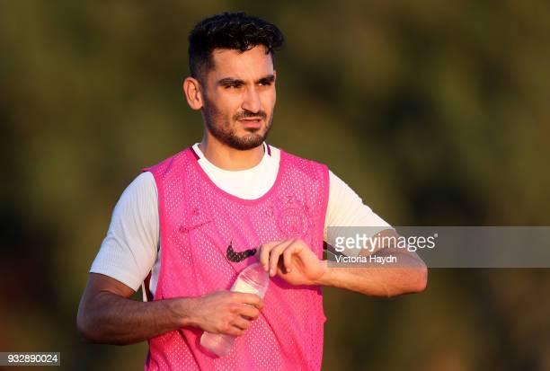 Manchester City's Ilkay Gundogan during the training session on March 16 2018 in Abu Dhabi United Arab Emirates