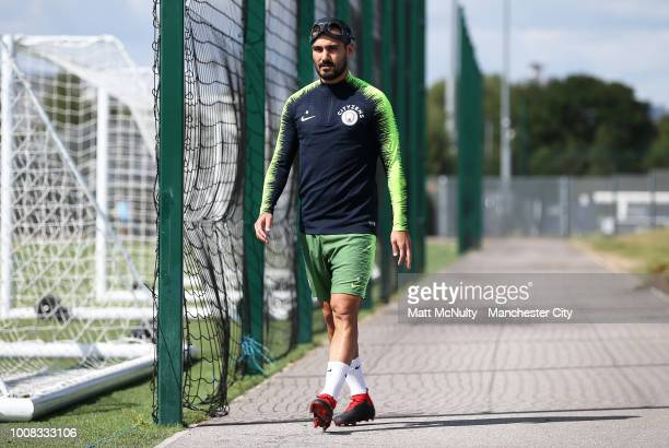 Manchester City's Ilkay Gundogan during training at Manchester City Football Academy on July 31 2018 in Manchester England