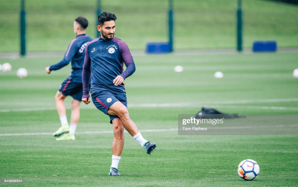 Manchester City's Ilkay Gundogan during training at Manchester City Football Academy on September 7, 2017 in Manchester, England.
