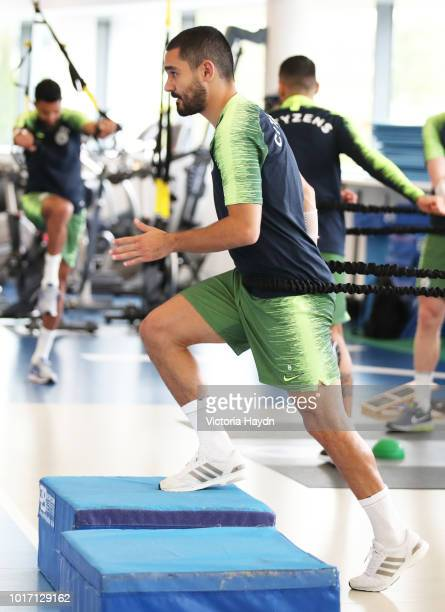 Manchester City's Ilkay Gundogan during training in the gym at Manchester City Football Academy on August 15 2018 in Manchester England