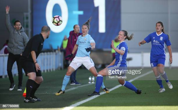 Manchester City's in action during the WSL 1 match between Manchester City Women and Birmingham City Ladies at Manchester City Football Academy on...
