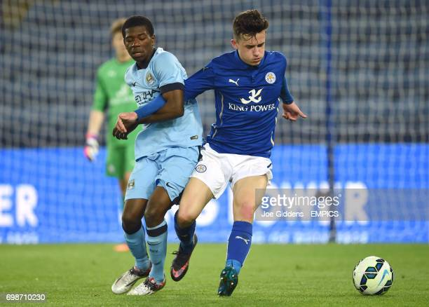 Manchester City's Isaac Buckley Ricketts and Leicester City's Ben Chilwell battle for the ball