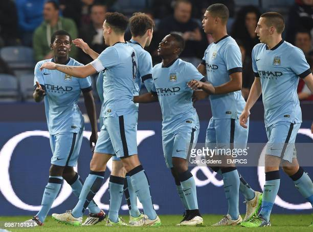 Manchester City's Isaac Buckley Ricketts celebrates scoring the equalising goal