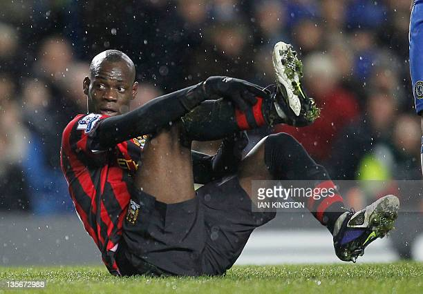 Manchester City's Italian player Mario Balotelli gestures during an English Premier League football match between Chelsea and Manchester City at...
