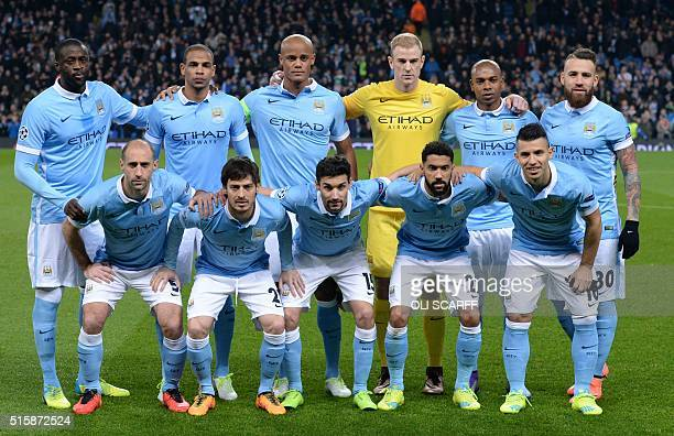 Manchester City's Ivorian midfielder and captain Yaya Toure Manchester City's Brazilian midfielder Fernando Manchester City's Belgian defender...
