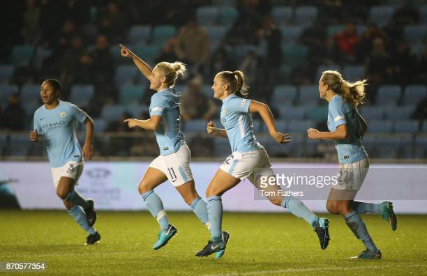 Manchester City's Izzy Christiansen celebrates scoring during the FA WSL Continental Tyres Cup match between Manchester City Women v Everton Ladies...