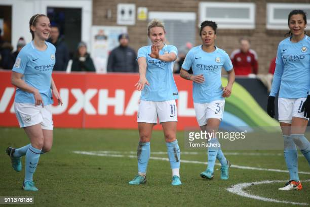 Manchester City's Izzy Christiansen celebrates scoring to make it 20 during the WSL match between Sunderland AFC Ladies and Manchester City Women on...