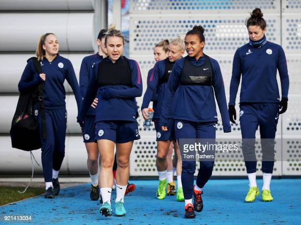 Manchester City's Izzy Christiansen Demi Stokes and teammates during training at Manchester City Football Academy on February 20 2018 in Manchester...
