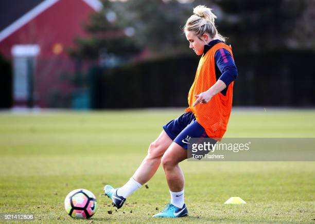 Manchester City's Izzy Christiansen during training at Manchester City Football Academy on February 20 2018 in Manchester England