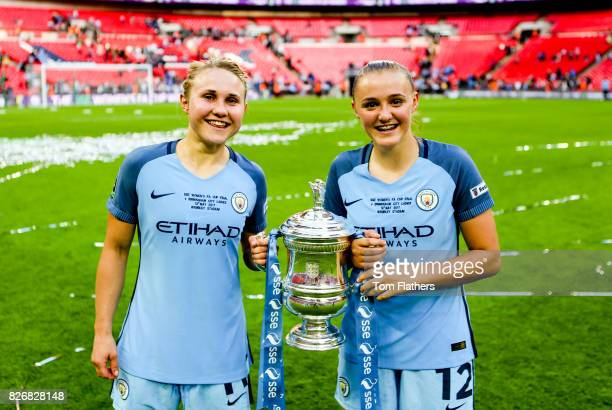 Manchester City's Izzy Christiansen Georgia Stanway celebrate winning the FA Cup
