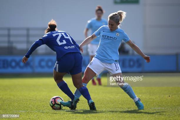 Manchester City's Izzy Christiansen in action during the WSL 1 match between Manchester City Women and Chelsea Ladies at Manchester City Football...
