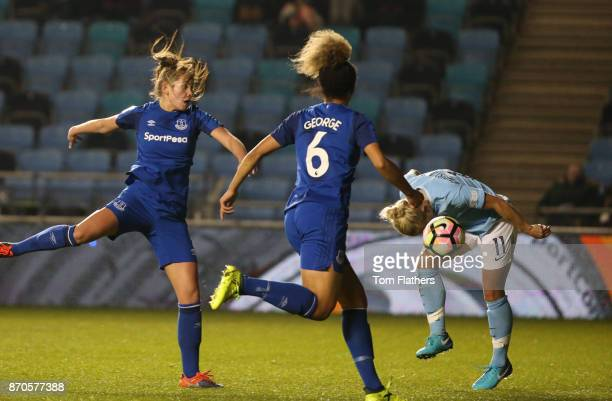 Manchester City's Izzy Christiansen scores during the FA WSL Continental Tyres Cup match between Manchester City Women v Everton Ladies FC at The...