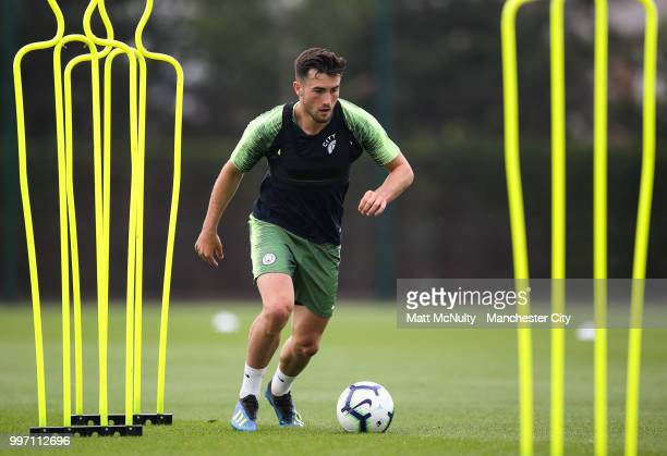 Manchester City's Jack Harrison during training at Manchester City Football Academy on July 12 2018 in Manchester England