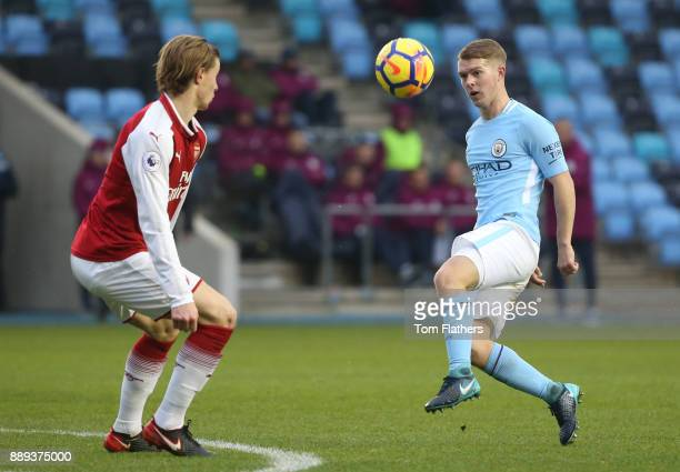 Manchester City's Jacob Davenport in action during the Premier League 2 match between Manchester City EDS and Arsenal U23 at Academy Stadium on...