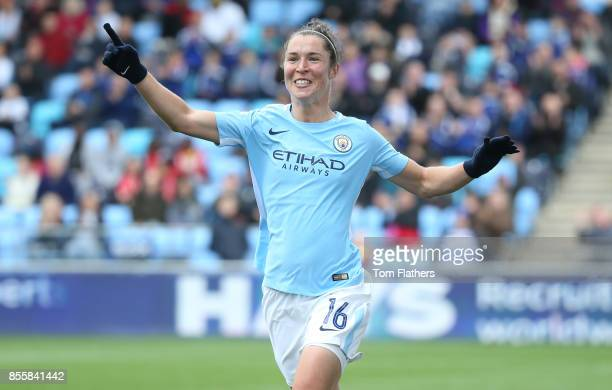 MANCHESTER ENGLAND SEPTEMBER 30 Manchester City's Jane Ross celebrates after scoring the opening goal during the WSL 1 match between Manchester City...