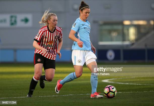 Manchester City's Jane Ross in action during the WSL fixture between Manchester City Women and Sunderland Ladies at The Academy Stadium on April 18...